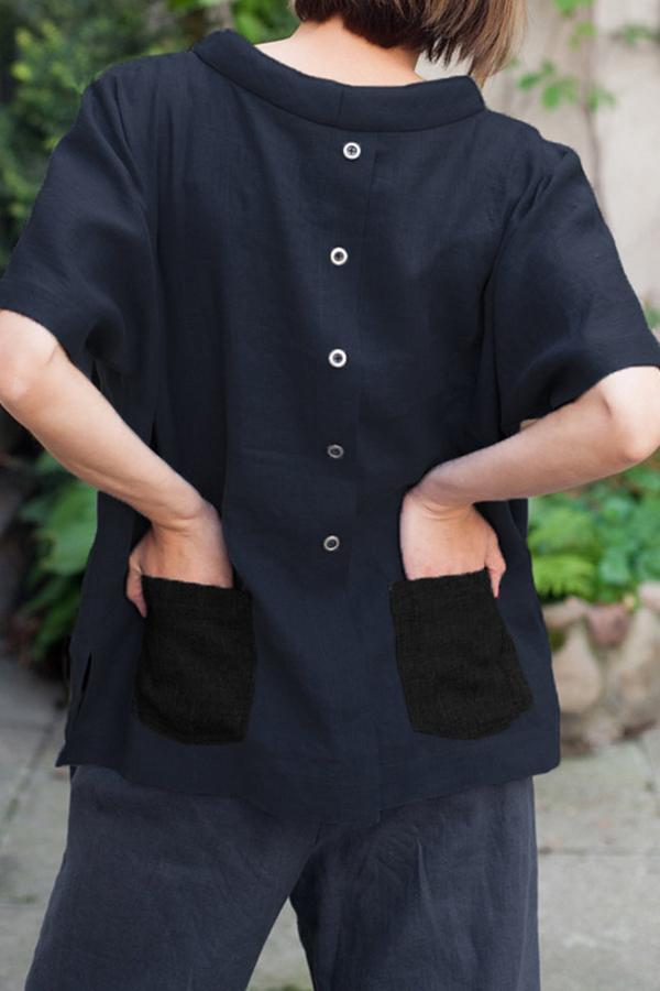 Casual Buttoned Back Pockets T-shirts