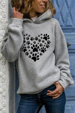 Footprint Make Up Heart Shape Print Casual Long Sleeves Hoodie