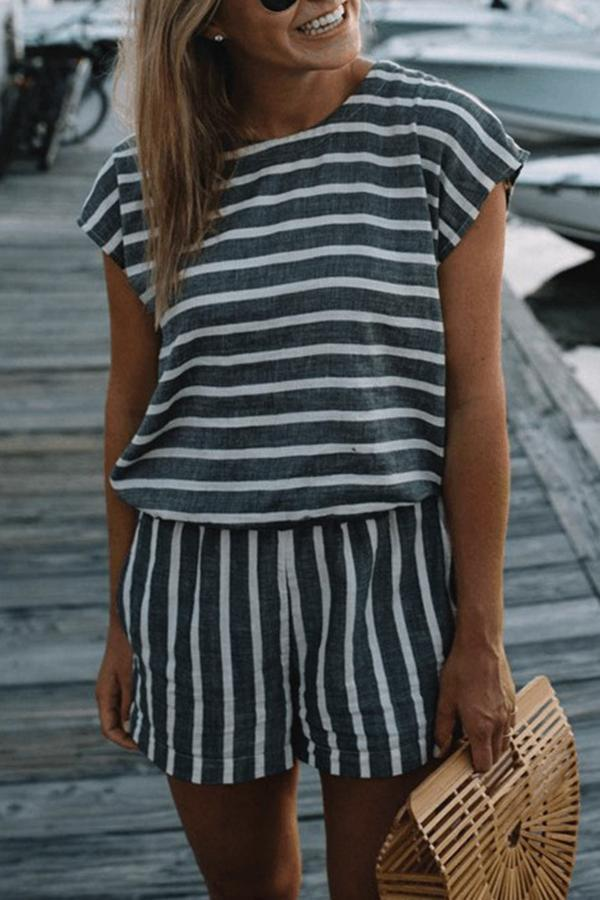 Stripe Backless Printed Casual Romper