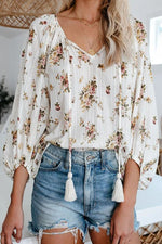 Holiday Floral Print Drawstring Balloon Sleeves Blouse