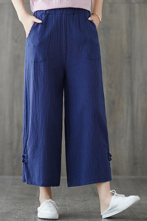 Paneled Solid Pockets Buckle Casual Wide Leg Pants