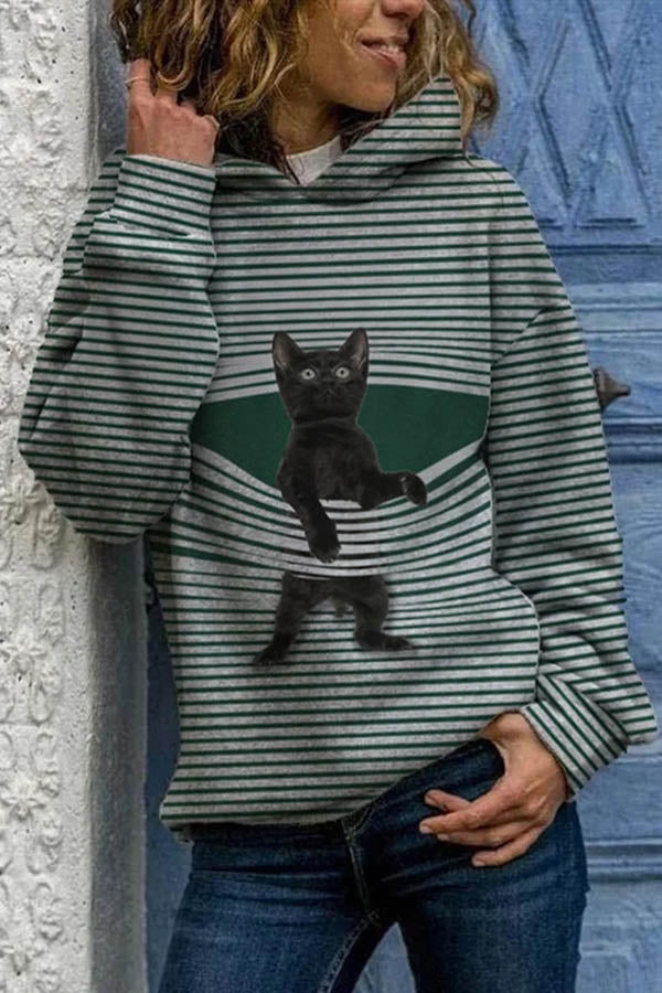 Shocking Black Cat Stuck In Striped Print Cartoon Women Hoodie