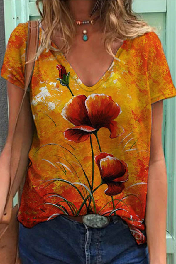 Lady Red Floral Gradient Print V Neck Shift Daily T-shirt