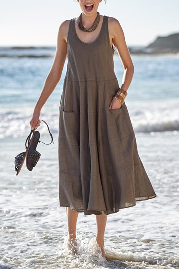 Paneled Solid Pockets Sleeveless Casual Midi Dress