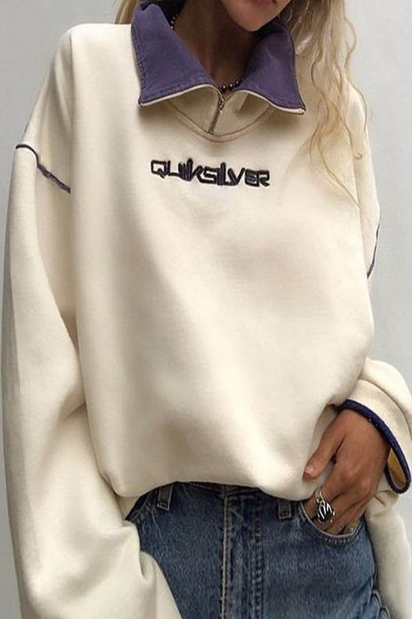 Sports Street Color-block Letter Print Zipper Front Lapel Collar Sweatshirt