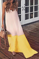 Casual Colorblock Sling Holiday Maxi Dress