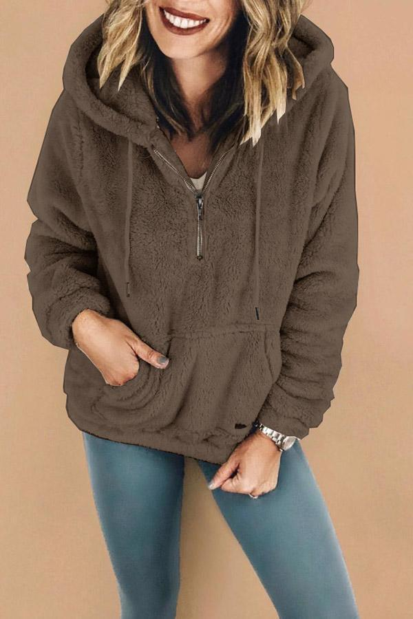 Zip Front Pocket Hooded Collar Fluffy Sweatshirt