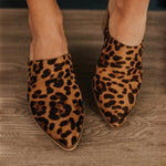 Leopard Pointed Toe Chunky Heels