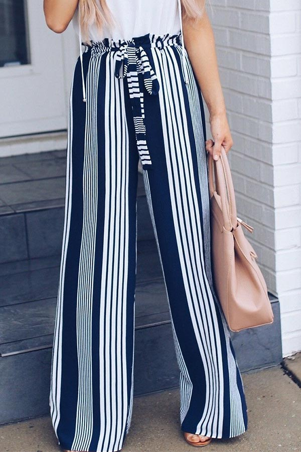 Casual Stripe Loose Mid Waist Pants