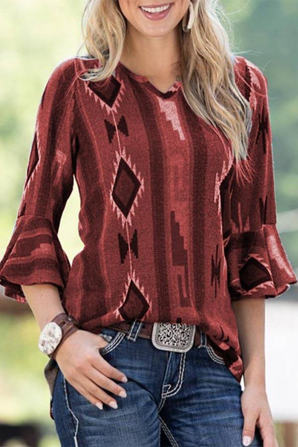 Plus Size Print Ruffle Sleeve V-neck Top