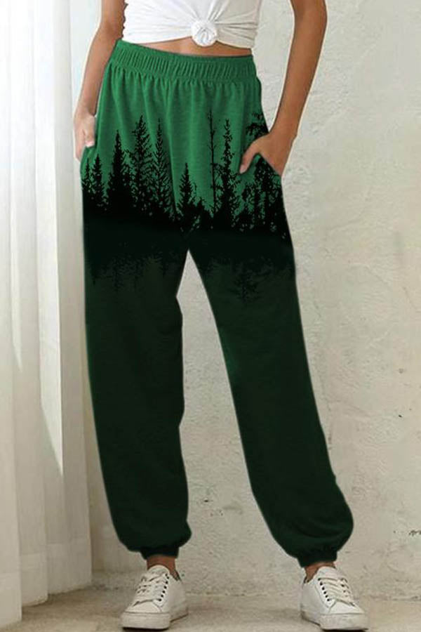 Nature Landscape Treetop Print Color-block Sports Pants