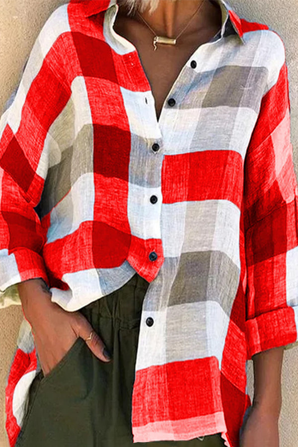 Casual Bright Color Plaid Print Buttons Down Blouse