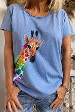 Cartoon Giraffe Print Paneled Short Sleeves Casual T-shirt
