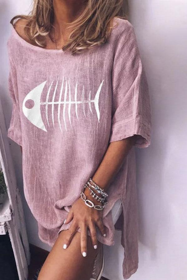 Fishbone Print Scoop Neck Casual T-shirt