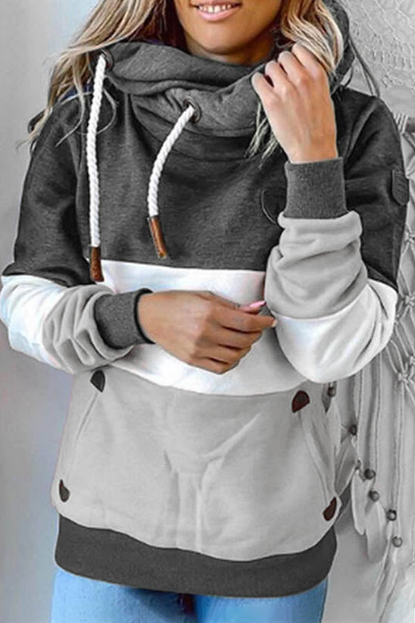 Holiday Solid Drawstring Pocket Color Block Asymmetric Hoodie