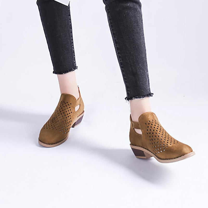 Women Openwork Round Toe Ankle Boots