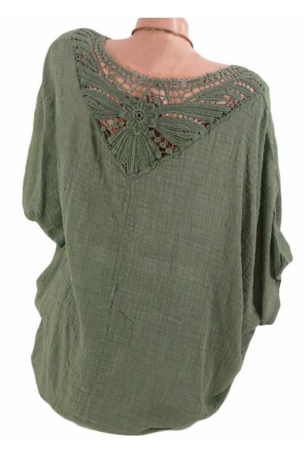 Cut-out Batwing Short Sleeve Blouse
