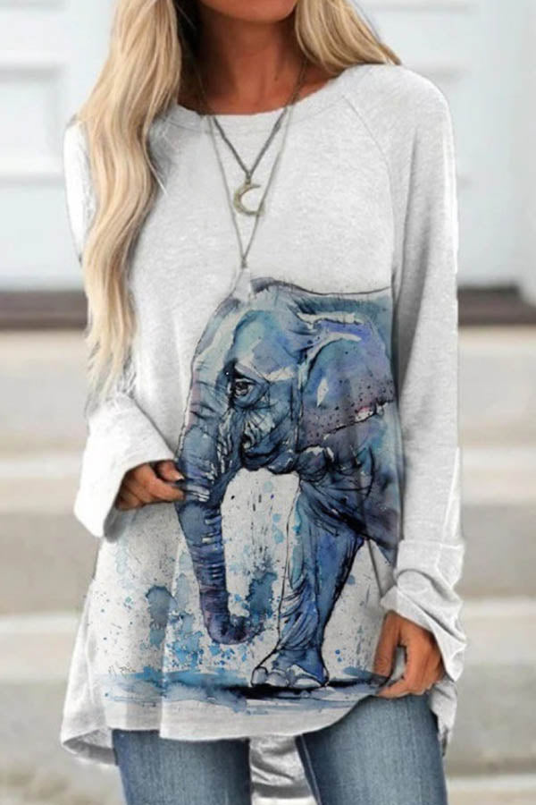 Gradient Lifelike Color Painting Elephant Print Sweety T-shirt