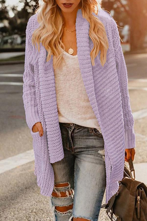 Loose Long Sleeves Pockets Knitted Cardigans