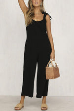 Casual Tie-up Backless Side Pockets Wide Leg Jumpsuit