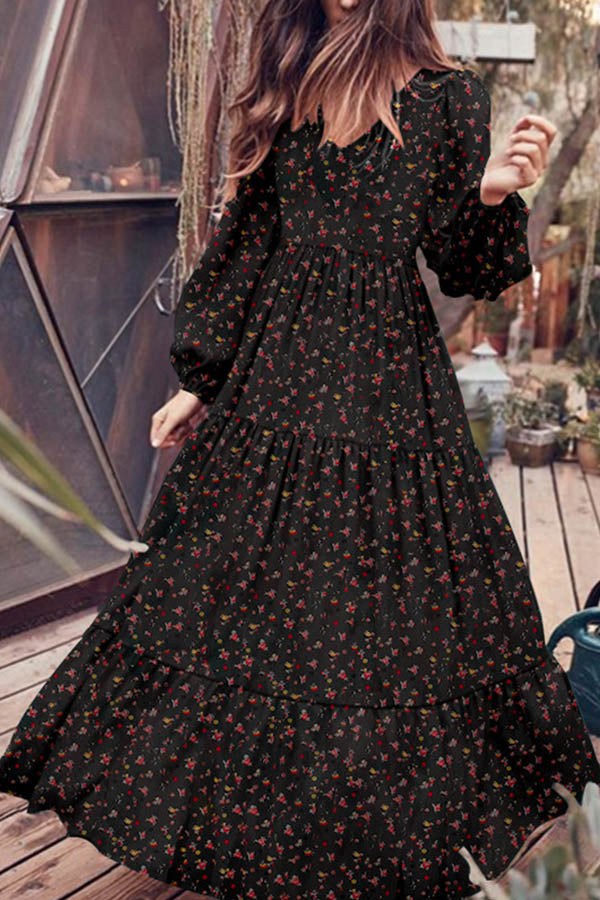 Temperament Floral Print Pleated Frill Hem Balloon Sleeves Zipper Chiffon Maxi Dress