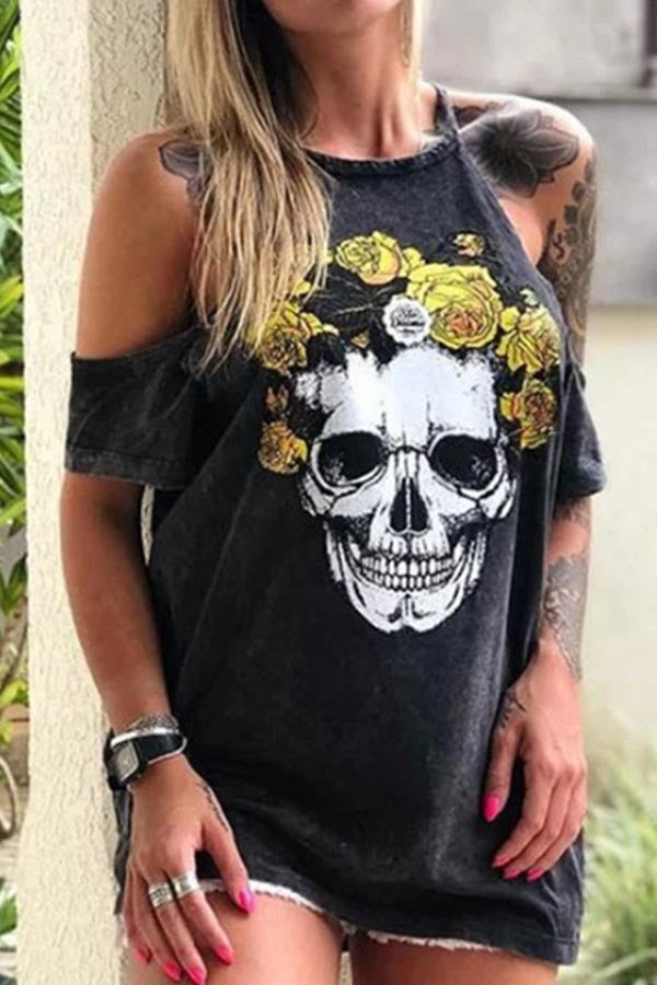 Skull Print Halter Neck Short Sleeves Casual T-shirt