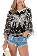 Floral Embroidery Paneled Mesh Batwing Holiday Blouse