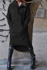 Paneled Pocket Drawstring High Low Hooded Dress
