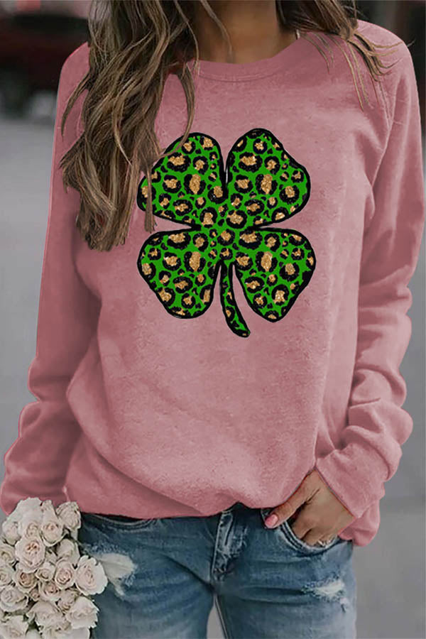 Casual Four Leaf Clover Leopard Print Shift T-shirt