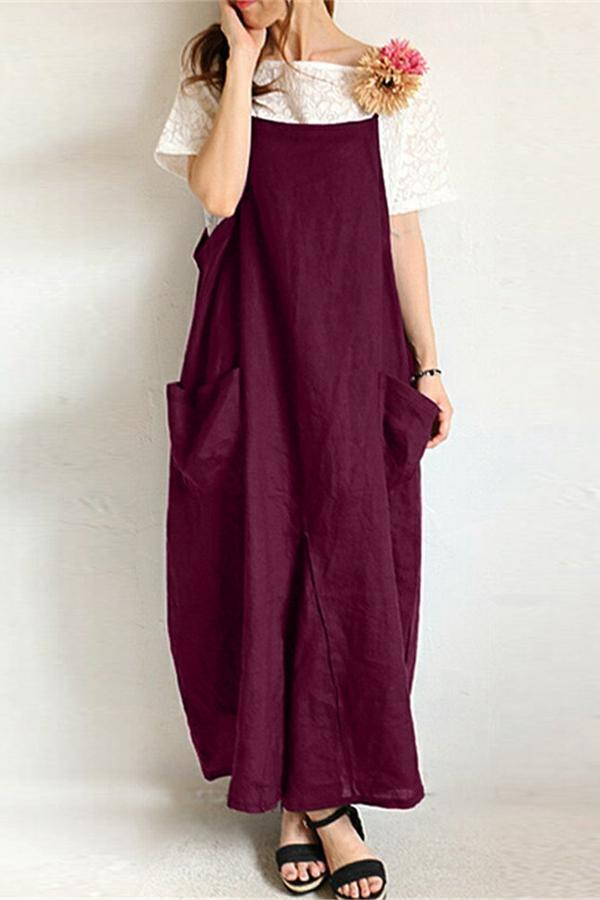 Side Pockets Loose Spaghetti Linen Dress
