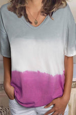 Paneled V-neck Casual Short Sleeves Gradient Print T-shirt