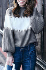 Holiday Color-block Knitted Ribbed Turtleneck Balloon Sleeves Sweater