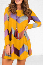 Geometric Color-block Pockets Loose Mini Dress