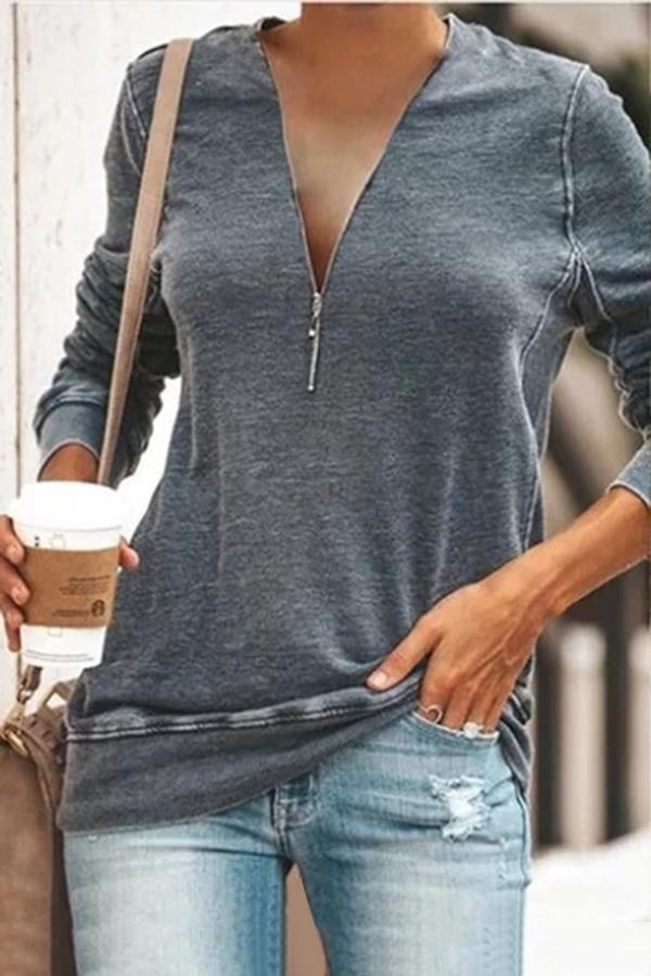 Loose Long Sleeves Zippper Front Solid T-shirts
