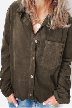 Linen Button Down Long Sleeves Blouse