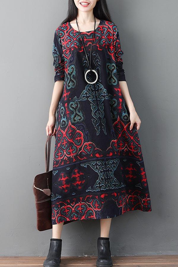 Graphic Print Side Pockets Vintage Midi Dress
