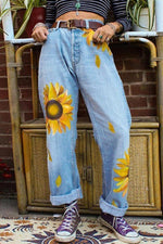 High-rise Sunflower Print Jeans