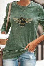 Bee Floral Print Paneled Casual Long Sleeves T-shirt