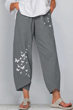 Butterfly Print Cross Front Hem Pockets Vintage Wide Leg Pants