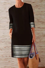 Casual Printed Crew Neck 3/4 Sleeves Midi Dress