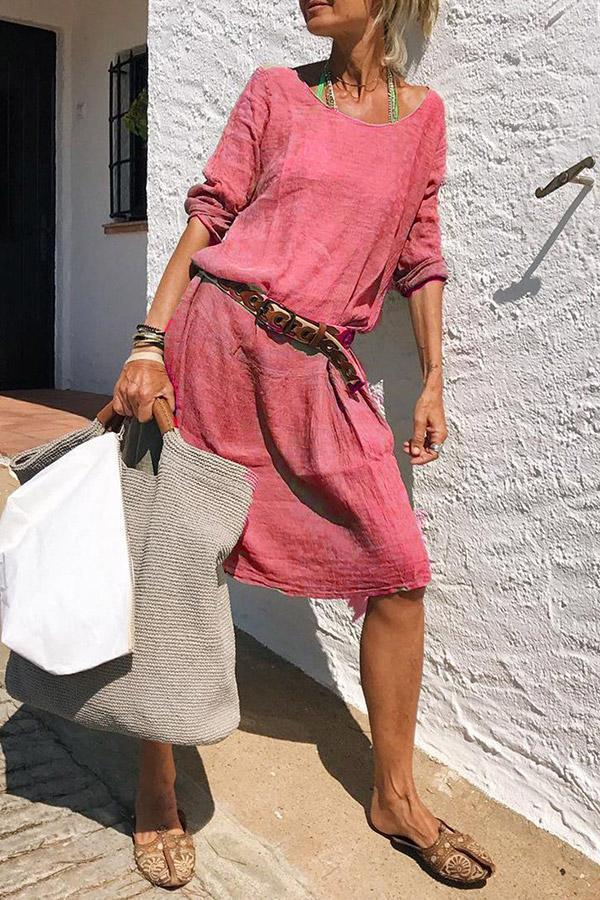 Casual Solid Crew Neck Linen Midi Dress