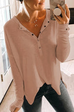 Casual Solid Button V Neck Shirt