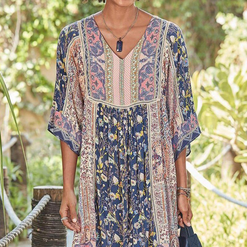 Floral Print Holiday Boho Midi Dress