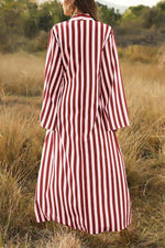 Striped Plunging Neck Buttoned Holiday Maxi Dress