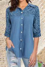 Casual Lace Paneled Hollow Out Buttons Down Curved Hem Blouse