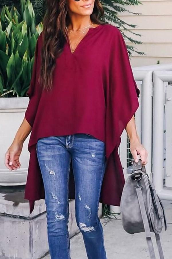 Solid V-neck High Low Casual Blouses