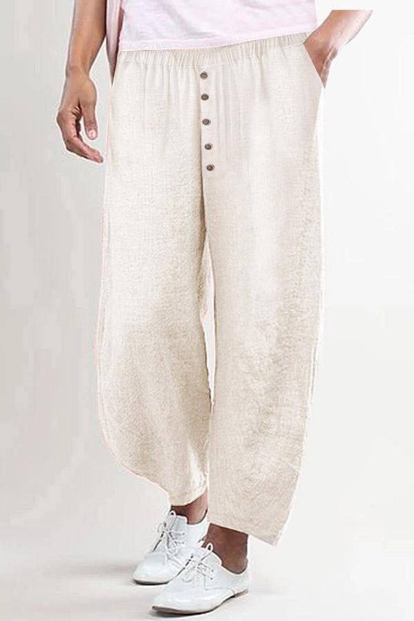 Wide Leg Buttoned Casual Linen Pants