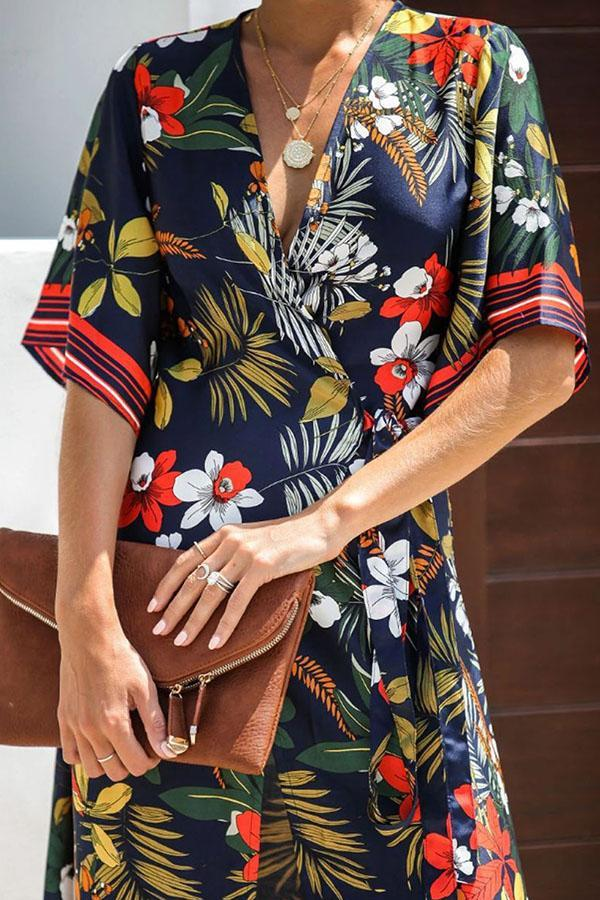 Knot Front V-neck Floral Print Holiday Midi Dress