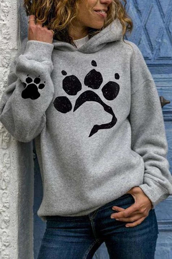 Casual Footprint Print Paneled Long Sleeves Hoodie