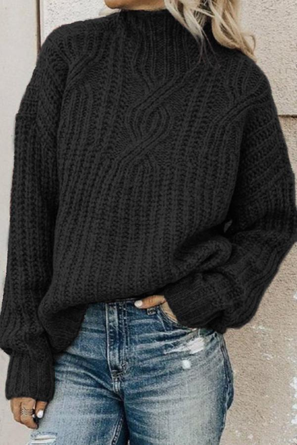 Casual Knitted High-neck Jumper